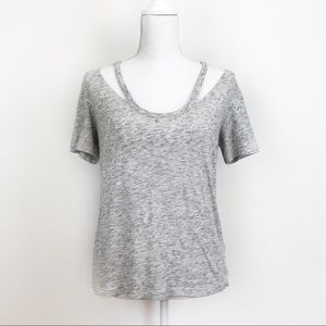 ✨River Island Heathered Space-Dye CutOut Tee Shirt